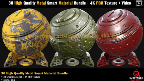 30 High Quality Metal Smart Material Bundle + 4K PBR Texture + Video
