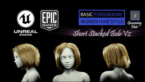 Short Stacked Bob V2 Hairstyle (Groom) For UE4