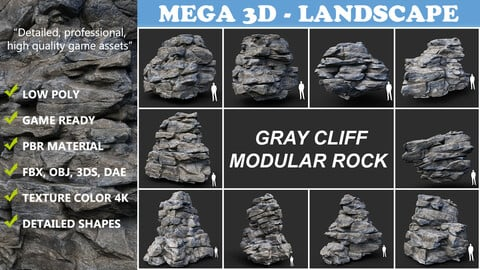 Low poly Gray Cliff Modular Rock Collection 210417