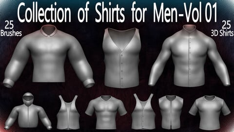 Collection of Shirts for Men - Vol 01 (24 Brushes for ZBrush, & 3D Files)