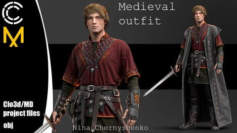 Medieval outfit. Marvelous Designer/Clo3d project + OBJ.