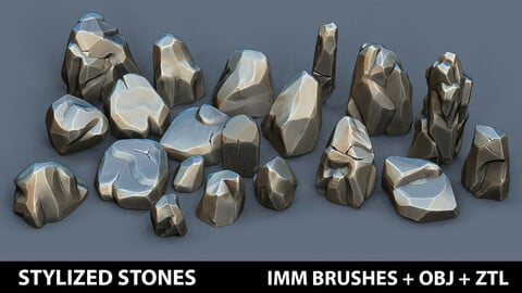 Zbrush - Stylized Stones IMM Brushes