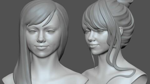 Female character Velvet base mesh zbrush 2019 sculpt