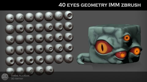 👁️ Eye Brush Gemetry IMM  👀 [NEW] (Shapes Lowpoly for OTHER softwares)