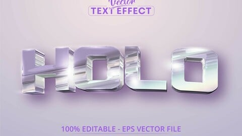Holo text, holographic iridescent color wrinkled foil style editable text effect