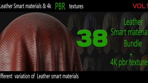 38 High Quality Leather  Smart Materials  Bundle + 4K PBR Texture_VOL.1 +1 video tutorials_ 5 min