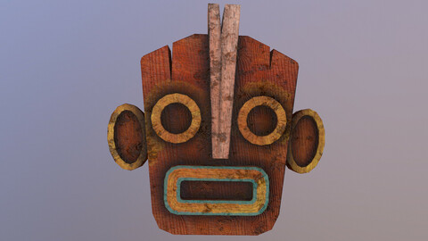 Low Poly Tiki Mask 3D Model