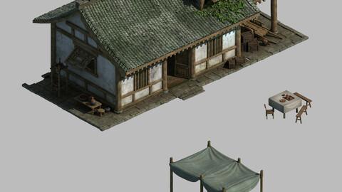 China Tang Dynasty - fisherman house 01