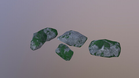Low Poly Mossy Rocks 3D Model free