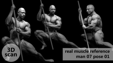 3D scan real muscleanatomy Man07 pose 01