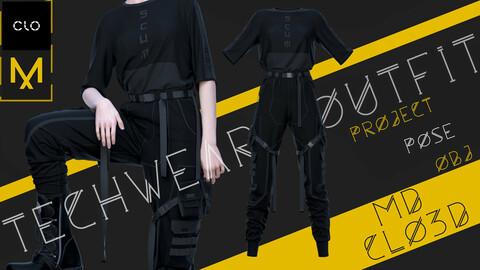 Clo3d/Marvelous designer Techwear female outfit (Pants, T-shirt) Zprj/Obj/Pose