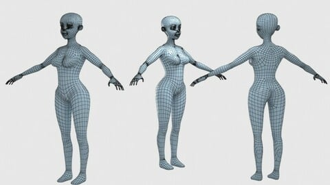female  base  human low poly