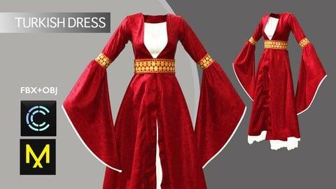 Turkish Dress Marvelous Designer/Clo3d project + OBJ + FBX