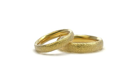 Small stones texture wedding rings 3D print model