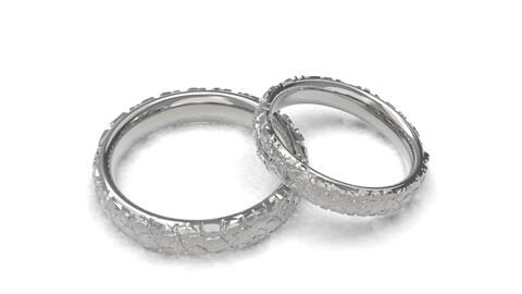 Large stones wedding comfort rings 3D print model