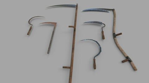 Pack of 6 Medieval Farm Scythe and Sickles