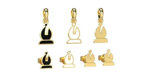 Bishop pendant and earrings chess set 3D print model