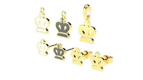 King pendants and earrings chess set 3D print models