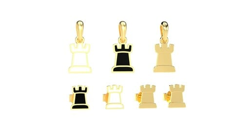 Rook pendant and earrings chess set 3D print model