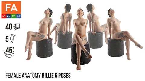 Female Anatomy | Billie 5 Sitting Poses | 40 Photos