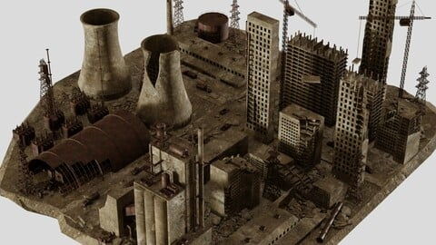 Post Apocalyptic Abandoned factory and power station