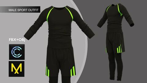 Male Sport Outfit2 Marvelous Designer/Clo3d project + OBJ + FBX