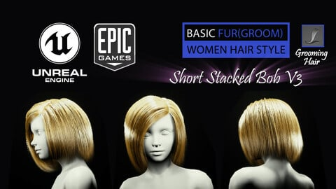 Short Stacked Bob V3 Hairstyle (Groom) For UE4