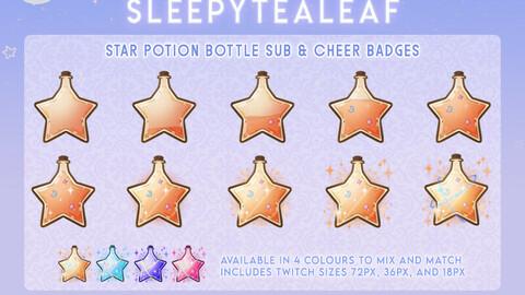 Star Potion Bottle Sub & Cheer Badges