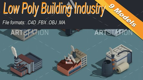 Low Poly Building Industry Isometric Icon