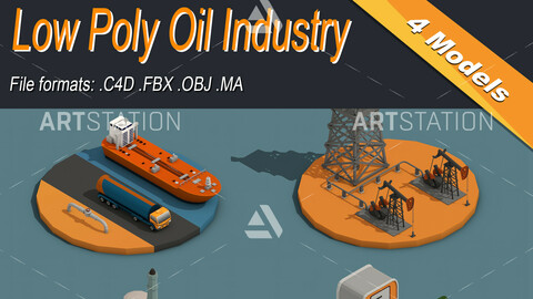 Low Poly Oil Industry Isometric Icon