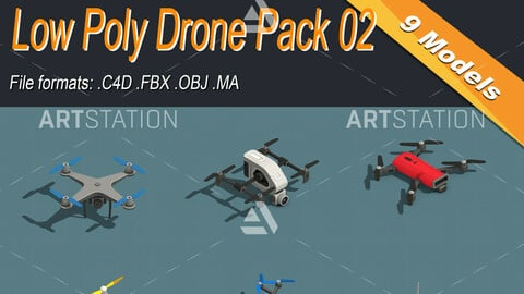 Low Poly Drone Isometric Icon Pack 02