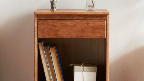 Vergum wood simple solid wood mini bedside table shelf