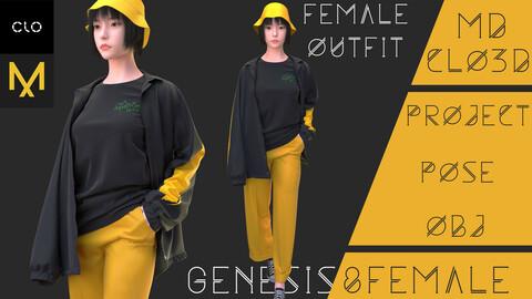 Clo3d/Marvelous designer Female outfit (Pants, T-shirt, Jacket) Zprj/Obj/Pose