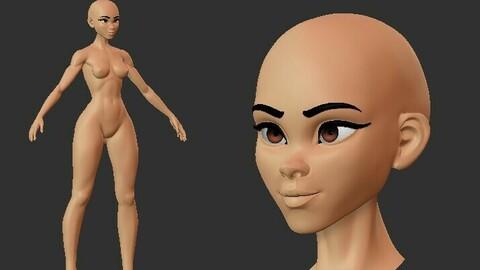 Stylized Female Basemesh v2 .ZTL .blend .fbx