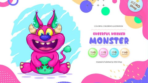 Cheerful horned monster