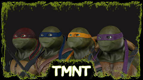 TMNT rigged 3d models  + all source files