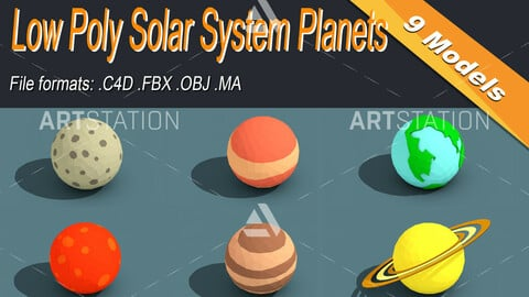 Low Poly Solar System Planets Isometric Icon