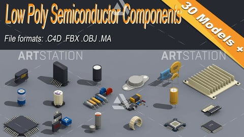 Low Poly Semiconductor Components Isometric Icon