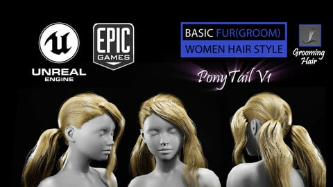 PonyTail V1 (Groom) For UE4
