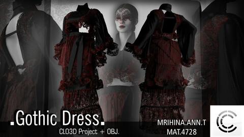 .Gothic dress. Clo3d, Marvelous Designer.