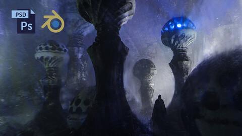 PSD + BLEND Fantasy Environment