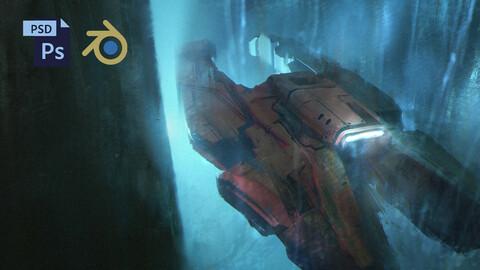 PSD + BLEND Sci-Fi Spaceship