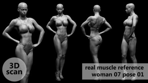 3D scan real muscleanatomy Woman07 pose 01