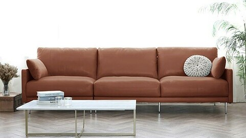 Kin natural cotton leather sofa for 4 people