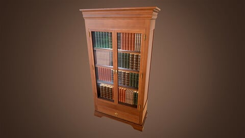 Realistic Vintage Bookcase and Books