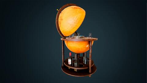 Realistic Vintage Globe Bar