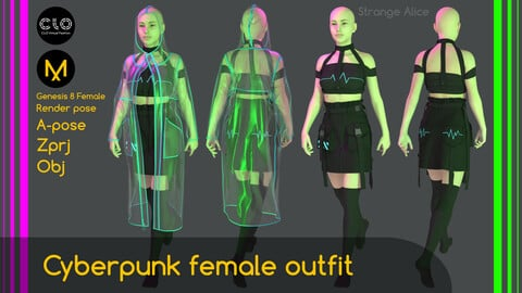 Cyberpunk female outfit. Clo3d, Marvelous Designer projects.
