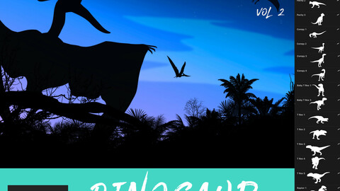 30 Dinosaur Brushes for Procreate Vol 2