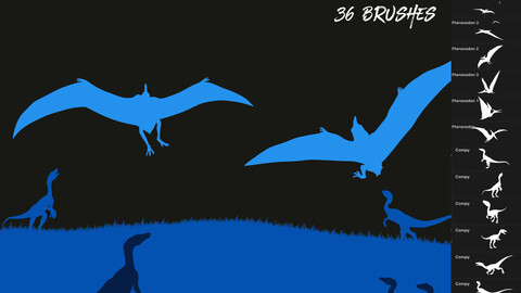 Pteranodon & Compy Pack - 36 Dinosaur Brushes for Procreate