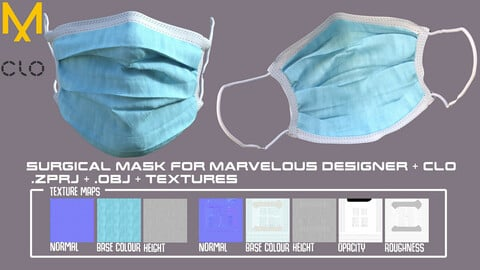Surgical Mask/COVID Mask - Clo3d MD projects + OBJ